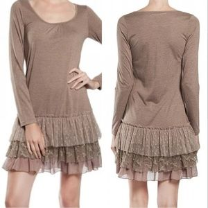 A'Reve Mocha Dress Lace Tier Ruffle Medium